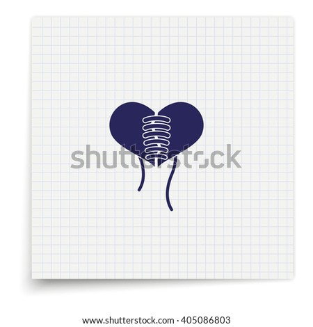 Stitched heart icon - stock photo