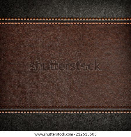 Stitched leather background, brown and black colors - stock photo