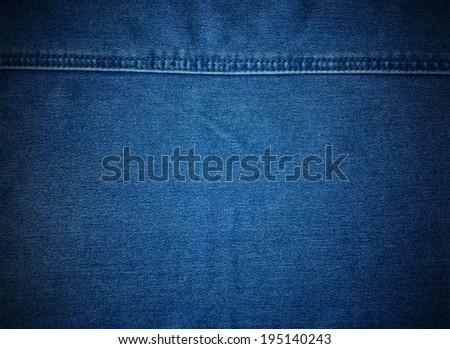 Stitched textured blue denim fabric jeans vintage background - stock photo