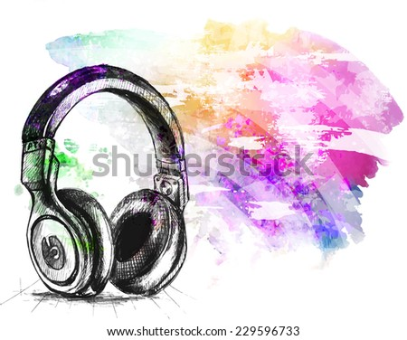 Stock abstract colorful background watercolor splash background illustration with headphones hand drawn sketch  - stock photo