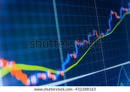 Stock analyzing. Market trading screen. Stock market chart, graph on blue background. Candle stick graph chart of stock market investment trading. World economics graph.   - stock photo
