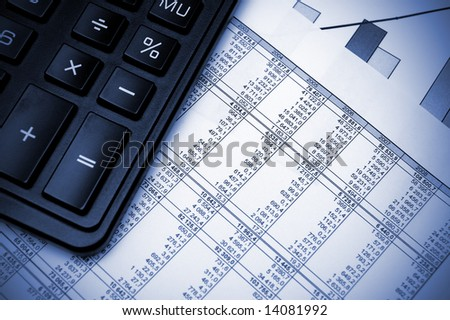 Stock chart and calculator. Blue toned. - stock photo