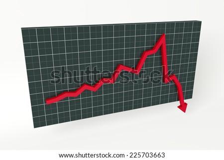 Stock chart crash - stock photo