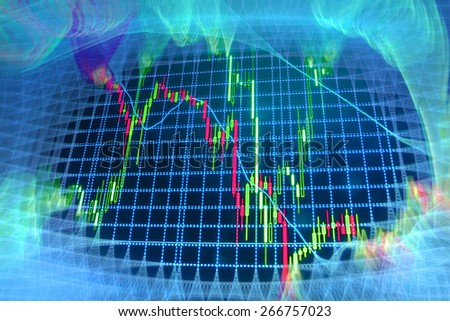 Stock exchange chart graph. Finance business background. Abstract stock market diagram. Blue color.  - stock photo