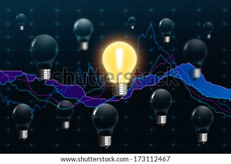 Stock exchange graph and a bulbs - stock photo