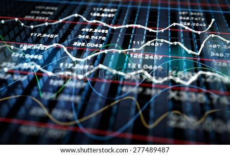 Stock exchange graph background, 3D illustration - stock photo