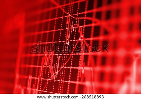 Stock exchange loss red screen. Symbol of recession, falling prices, failure. Stock candlebar chart graph on monitor screen display of trader computer. Shallow depth of field.  - stock photo