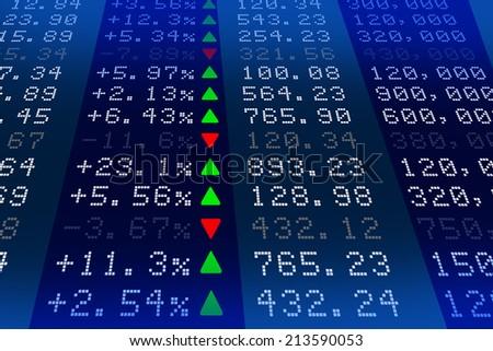 Stock exchange market display panel - stock photo