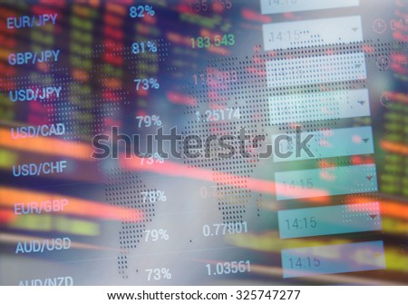 Stock exchange quotes on display. Financial background - stock photo