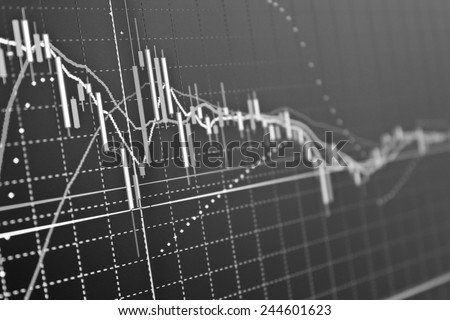 Stock exchange trade chart bar candles macro close-up. Background with stock diagram on monitor. - stock photo