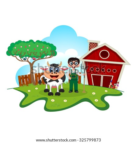 Stock farmer and cow cartoon in a farm for your design - stock photo