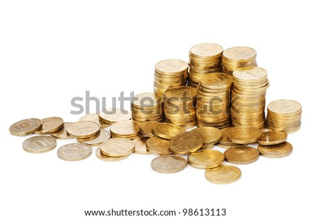 Stock  gold coins  isolated on white background - stock photo