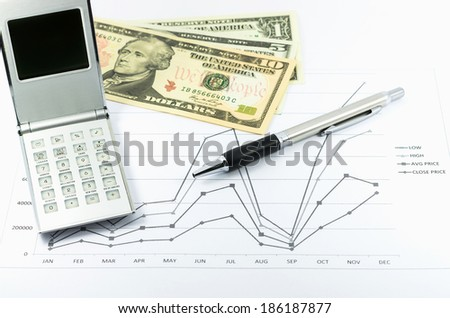 stock graph report with calculator, pen and usd money for business - stock photo