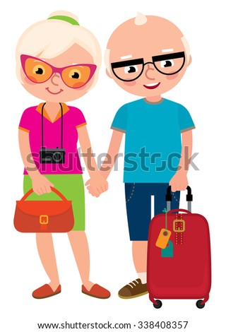 Stock illustration cartoon mature couple travelers old husband and wife with a travel bag/Mature couple travelers old husband and wife with a travel bag/Stock cartoon illustration - stock photo