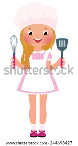 Stock illustration of a smiling girl cook/Smiling girl chef/Stock cartoon illustration - stock photo