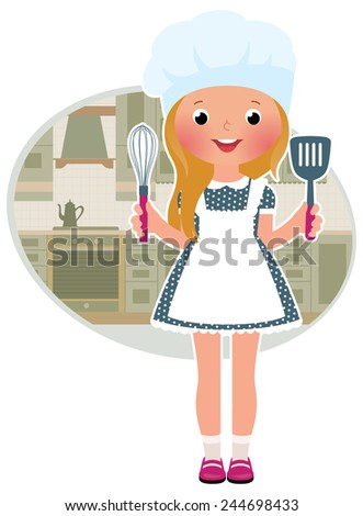 Stock illustration of cute little girl cook in the kitchen/Girl cook in the kitchen/Stock cartoon illustration - stock photo