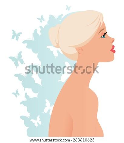 Stock illustration portrait of a beautiful naked blonde girl in profile/Beautiful blonde girl in profile/Stock illustration - stock photo