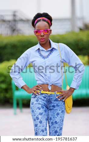 Stock image of a fashion model with attitude - stock photo