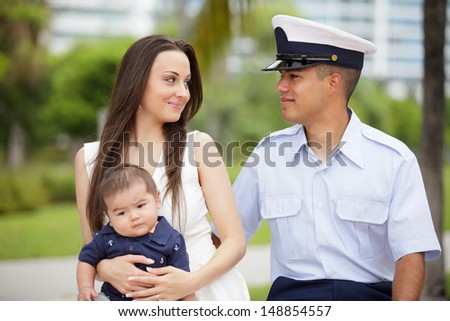 Stock image of a military man and his family - stock photo