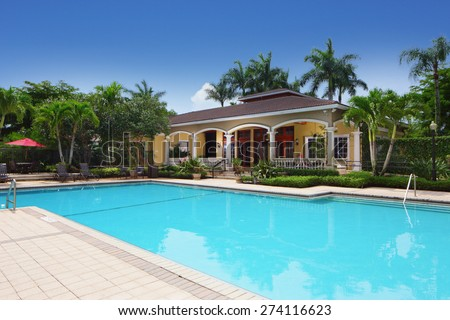 Stock image of a residential community swimming pool - stock photo