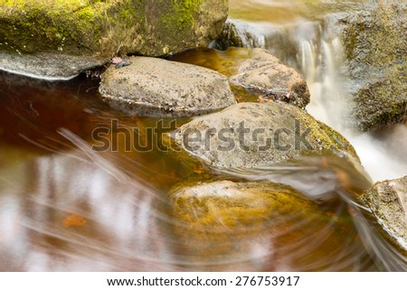 Stock image of a running river through moss covered rocks in Padley Gorge in the Peak district - stock photo