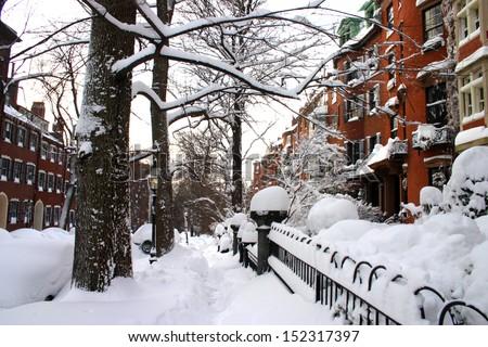 Stock image of a snowing winter at Boston, Massachusetts, USA  - stock photo