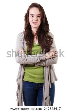 Stock image of casual teen isolated on white background - stock photo