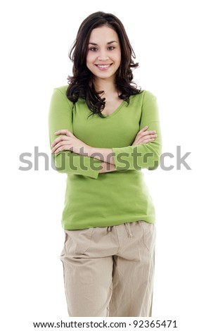 Stock image of confident casual woman isolated on white background - stock photo