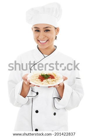 Stock image of female chef isolated on white background - stock photo