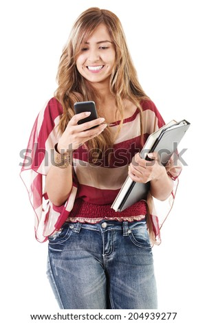 Stock image of female college student using phone isolated on white background - stock photo