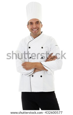 Stock image of male chef isolated on white background - stock photo