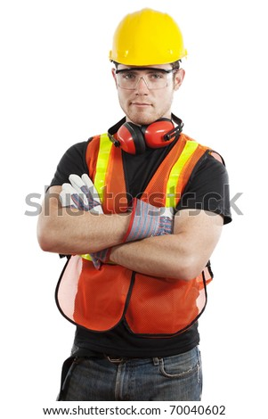 Stock image of male construction worker isolated on white background - stock photo