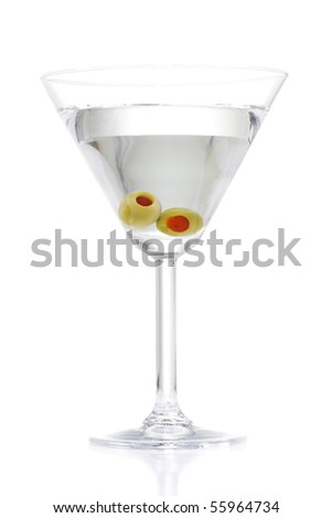 Stock image of Martini with two olives over white background - stock photo