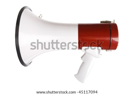 Stock image of red and white megaphone isolated on white - stock photo