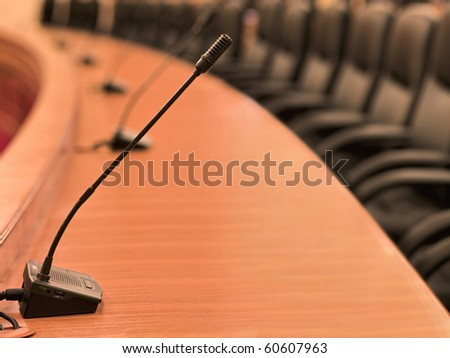 stock image of the microphone on the conference - stock photo