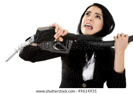 Stock image of woman being choked by fuel pump hose, over white background - stock photo