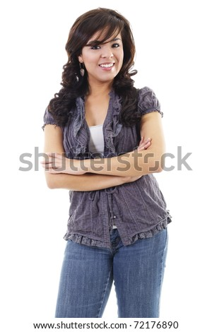 Stock image of young hispanic woman casually standing, isolated on white background - stock photo