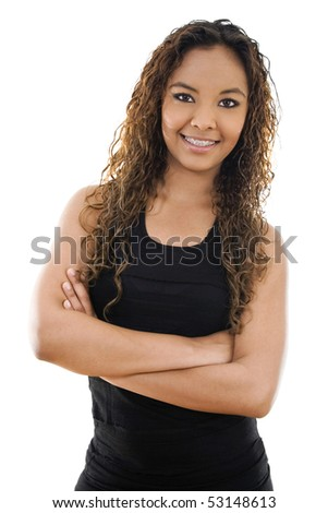 Stock image of young woman standing with arms crossed over white background - stock photo