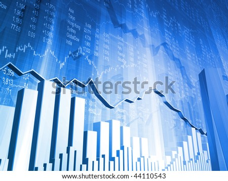 Stock Indicators with 3D Market Graph and Bar Graphs - stock photo