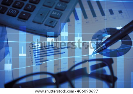 Stock market chart.Business graph with tending. Stock market chart,Stock market data on LED display concept. - stock photo
