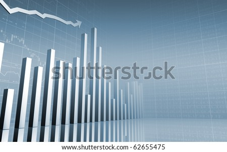 Stock Market Chart/Graph & Bar Charts/For Presentations and Annual Reports - stock photo
