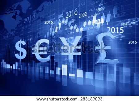 Stock market chart graph with global currencies 	 - stock photo
