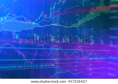 stock market chart, Stock market data in blue on LED display concept - stock photo
