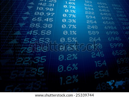 stock market figures on a background ideal for reports or finance - stock photo