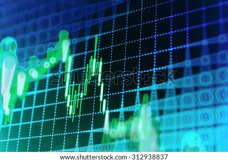 Stock market graph and bar chart price display. Data on live computer screen. Display of quotes pricing graph visualization. Abstract financial background trade colorful  - stock photo