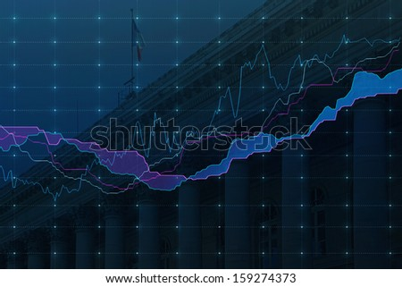 Stock market graph in blue with French Burse - stock photo
