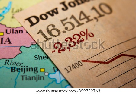 Stock Market Graph on top of a map of China. Red downtrend indicates the stock market recession period - stock photo