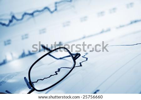 Stock market graphs. - stock photo