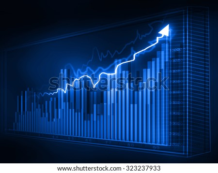 Stock market graphs, business chart 	 - stock photo