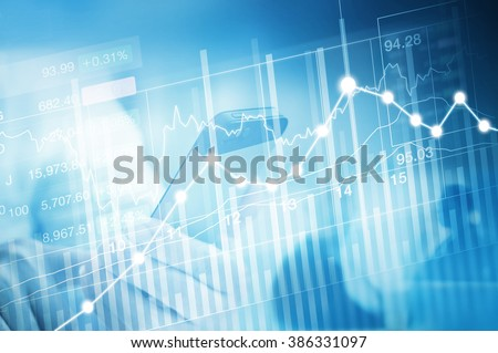 stock market investment trading, candle stick graph chart, trend of graph, Bullish point, Bearish point and business man, soft and blue color tone - stock photo